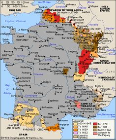 A map showing French expansion into previously non-French territory in the early 1600's.