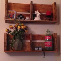 Pallet shelves for my salt n pepper shakers w top & chicken wire doors to keep kits from tossing them on floor...lol