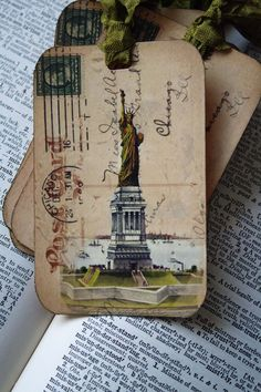 Hang Tag Gift Tag Handmade Statue of Liberty with Vintage Postcard Background New York City