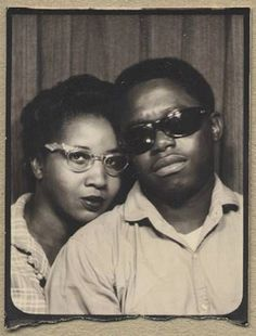 Cool African American Couple Wcats Eye Sunglasses in Vtg Photobooth Photo Oscar Wilde, Vintage Magazine, Vintage Photo Booths, Photos Booth, Vintage Black Glamour, Black Love, Black Art, Vintage Photographs, Vintage Images