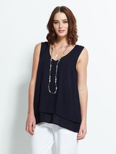 Double Layer Vest Top Midnight