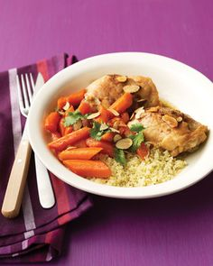 Moroccan spices and golden raisins enhance the carrots in this tagine-inspired chicken stew.