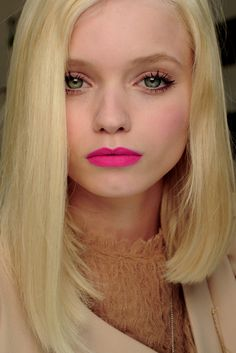 pink lips for life---her dewy skin and bright eye makeup, minimal just enough to help pop that lip while complimenting altogether
