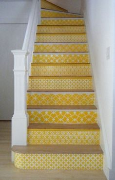 Our Moroccan stencils on stair risers in a sunny yellow. Carol Leonesio was inspired by the black/white stenciled stairs in this post. Spreading the stencil love! Stenciled Stairs, Painted Stairs, Wooden Stairs, Painted Staircases, Painted Tiles, Painted Floors, Hand Painted, Yellow Stairs, Yellow Hallway