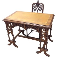 Intricately Carved Antique French Gothic Desk & Chair Set. 19th Century www.rubylane.com #vintagebeginshere
