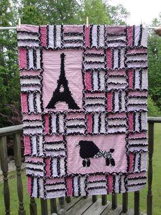Pink and Black Paris Rag Quilt