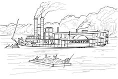 Steamboat Coloring Page Coloring Pages Nature, Batman Coloring Pages, Skull Coloring Pages, Monster Coloring Pages, Coloring Pages For Kids, Coloring Sheets, Adventures Of Tom Sawyer, Yellowstone Vacation, Paddle Boat