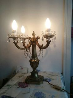 French Chandelier Candelabra with Crystals by FrenchPastTimes