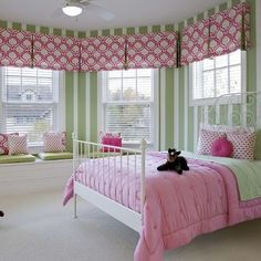 Green White Wall Themes and Cool Beds Furniture in Girls Bedroom Interior Color Decorating Design Ideas Simple Teenage Bedroom Decorating Ideas in Pink Color Schemes Bedroom Interior Colour, Bedroom Green, Bedroom Decor, Bedroom Ideas, Bedroom Designs, Bedroom Pictures, Bedroom Inspiration, Interior Paint, Green Girls Rooms