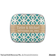 Teal and Gold Moroccan Wedding Favor Jelly Belly Tin