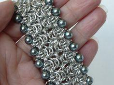 Byzantine cuff bracelet with platinum glass by TheArmorersWife