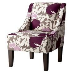 The Hudson Swoop Chair makes a bold and contemporary statement in any living space. The attached seat and back cushions are filled with 100% Dacron foam for super-comfy seating. The upholstered, pure cotton fabric has a beautiful botanical floral pattern in gray, blue and olive to mix or match your home's décor. This upholstered chair is expertly finished with espresso-colored tapered legs and swooping arms for a gorgeous silhouette. A sturdy, hardwood frame ensures this accent chair wi...