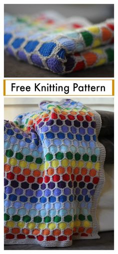 Rainbow Honeycomb Blanket Free Knitting Pattern #knittingpatterns #blanket