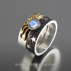 Items similar to SOLAR ECLIPSE Sun and Moon Engagement rings with Moonstone in sterling silver and gold on Etsy Jewelry Rings, Unique Jewelry, Jewelry Accessories, Jewelry Design, Jewellery, Glass Jewelry, Silver Jewelry, Engagement Sets, Engagement Jewelry