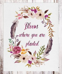 Another great find on #zulily! 'Bloom Where You Are Planted' Floral Wall Art #zulilyfinds