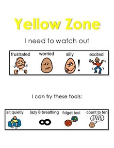 Zone of Regulation: Yellow Zone. This chart shows the emotions and some strategies to try when in the Yellow Zone. Great for a break area or chill zone. Zones Of Regulation, Emotional Regulation, Emotional Development, Social Skills Activities, Therapy Activities, Coping Skills, Life Skills, Social Stories Autism, Behavior Interventions