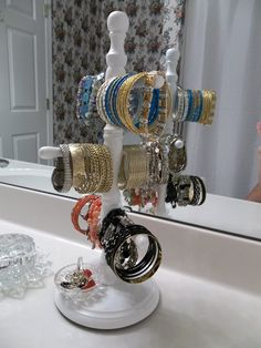 Bracelet Organization with Repurposed Coffee Mug Stand
