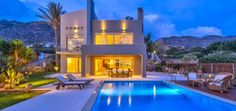 Beachfront pool villa South Crete is the right choice for your vacation in Crete. It has clever design, modern features, quality materials, sea views and quietness. Clever Design, Luxury Living, The Rock, Greece, Vacation, Mansions, House Styles, Modern, Home Decor