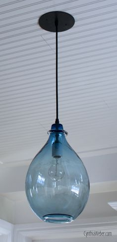 Blue Glass Pendant light part of the Client Diaries kitchen reveal made by Artisan Lighting