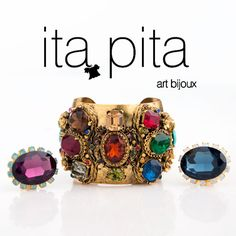 Ita Pita Llena tu look de color y energía con estos accesorios de Ita-pita. Brazalete multi cristal  y anillos en cristales de colores