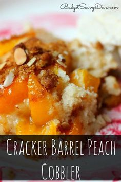 Cracker Barrel Peach Cobbler Recipe #copycat