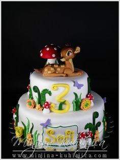Bambi cake, maybe third birthday. Bambi, Fondant Cakes, Cupcake Cakes, Deer Cakes, Movie Cakes, Character Cakes, Girl Christening, Fashion Cakes, Disney Cakes