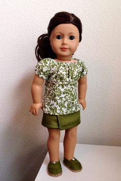 "Peasant shirt, reversible skirt, and Toms style shoes for American Girl and 18"" dolls - 3 piece outfit or separates"