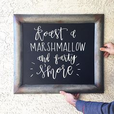 Chalkboard sign for a smores bar hoedown party!