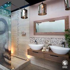 Baño de estilo zen. Todo disponible con Orbe estudio de arquitectura y diseño. facebook.com/ORBEARQ