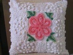 Vintage Chenille Patchwork Pillow by Karen Hearn