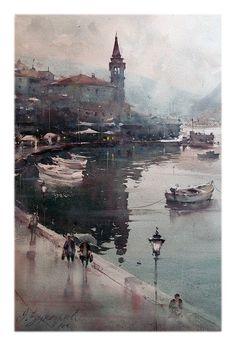 Dusan Djukaric Rainy day in Perast, watercolor, 36x55 cm