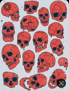 Skull Reference, Drawing Reference, Doodle Art, Art Sketches, Art Drawings, Cuadros Star Wars, Totenkopf Tattoo, Skull Illustration, Halloween Illustration