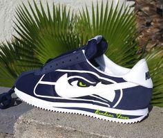 """Nike """"Seahawks"""" Cortez Nylon Midnight Navy/White by Bandana Fever"""