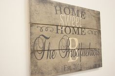 Home Sweet Home Initial Sign Pallet Sign Personalized Sign Custom Name Sign Family Name Sign Wedding Gift Bridal Shower Gift Housewarming