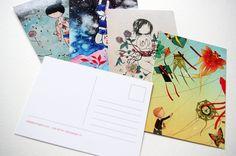 Set of 5 Postcards - Cooties, Kite Boy, Summer Sky, Alberta and Microcosmos. $ 10.00, via Etsy.