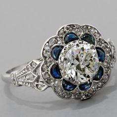 Antique Art Deco Platinum1.00ct European-cut Diamond and Sapphire Engagement Ring