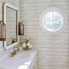 Powder Room Wallpaper, Home Wallpaper, Living Room Colors, Living Room Designs, Co Design, House Design, Anna French Wallpaper, Nantucket Decor, Guest Bathrooms