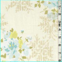 Cream Multi Floral Pima Cotton - Fabric By The Yard