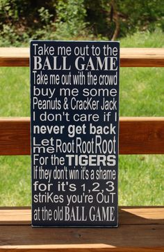 Baseball Nursery Decor: Take Me Out To The Ball Game (Detroit Tigers Edition) Wall Art other than I need Indians!