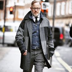 Off to work in my tweeds this morning and looking very serious about it! Thanks to @fwstreetstyle for the shot.#LCM