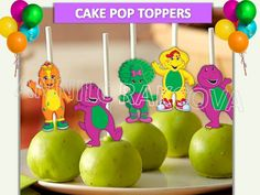 Barney Cake pop toppers/ Barney and Friends/ Cupcake Toppers/ Printables/ Instant Download / You Print 60% OFF by ANNILORACK on Etsy