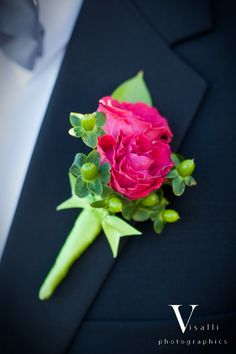 Hot pink/lime green boutonniere -- Spray Roses, Hypericum Berry - design by Heather Murdock of The Blue Orchid (image by Visalli Photography)