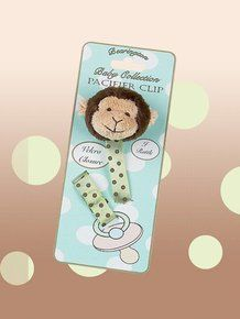 Bearington Baby Plush Giggles Monkey Pacifier Clip. Available at OurPamperedHome.com