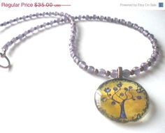 Tree of Life Necklace in Purple and Gold by PhreshThreadz on Etsy, $28.00