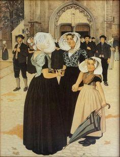 Kerkuitgang te Goes door Johann Georg van Carspel, Litho 60 x 80 cm