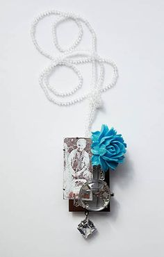 Lisa Juen, 'Flower Lady' Neckpiece in stainless steel, enamel, cubic zirconia, plastic and glass. 11 x 6.5 x 3cm.