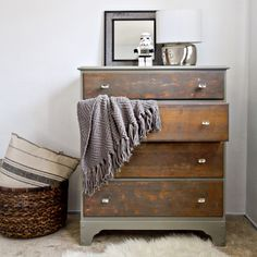 DIY::Rustic Two Toned Old Dresser Makeover (Full Tutorial)--Probably way too hard for me to accomplish