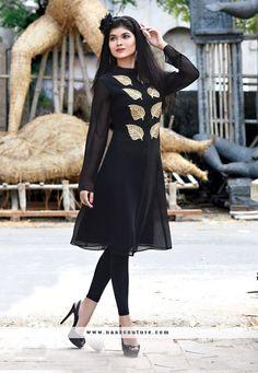 Charming Black Georgette Party Wear Kurti