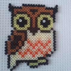 Hama perler beads owl by ~a-mah on deviantART Melty Bead Patterns, Hama Beads Patterns, Beading Patterns, Perler Beads, Fuse Beads, Pixel Art, Owl Perler, Hama Beads Design, Iron Beads