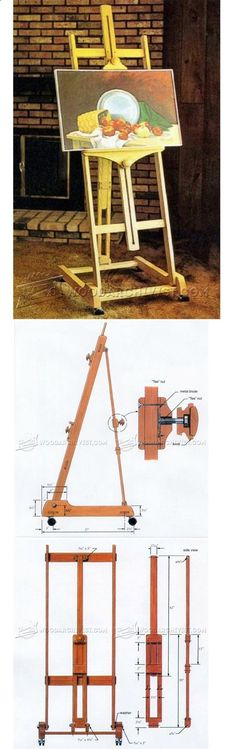 Artist Easel Plans - Woodworking Plans and Projects - Woodwork, Woodworking, Woodworking Plans, Woodworking Projects Woodworking Essentials, Woodworking Furniture Plans, Cool Woodworking Projects, Learn Woodworking, Easy Wood Projects, Project Ideas, Wood Working, Artists Space, Recycled Pallets